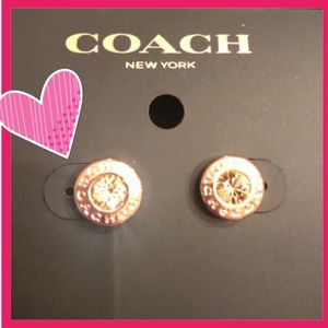 COACH Earrings Rose Gold Champagne Crystal